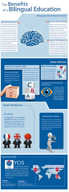 This poster describes the many benefits of a bilingual education.  There are many cognitive, cultural, economic, and academic benefits when one is a bilingual.  Bilingualism allows one to have a greater cognitive flexibility, it preserves important relationships and identity of ones culture, provides economic opportunity, and more academic success.