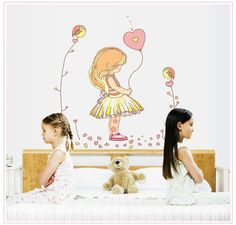 Kids Girls Room Decoration Cartoon Balloon Girl Wall Stickers,Removable Vinyl child bedside DIY wall decal,baby murals