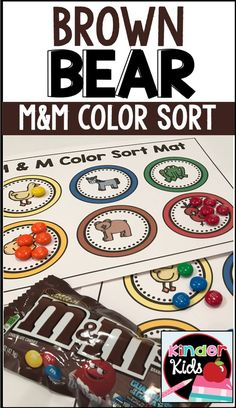 Brown Bear M&M Color Sort and Graphing Activity Mats Bear Activities Preschool, Graphing Activities, Preschool Colors, Toddler Learning Activities, Bear Theme Preschool, Preschool Centers, Counting Activities, Literacy Centers, What Color Am I