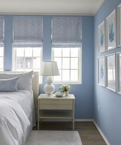 25 Beautiful Bedrooms Decorated With Blue - Master bedroom - Baby Blue Bedrooms, Blue Bedroom Walls, Blue Bedroom Decor, Coastal Bedrooms, Bedroom Paint Colors, Modern Bedroom, Periwinkle Bedroom, Cottage Bedrooms, Blue Rooms