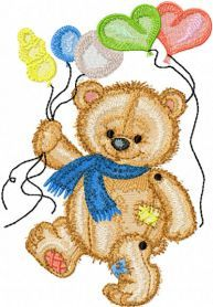 Bear with Balloons machine embroidery design. Machine embroidery design. www.embroideres.com