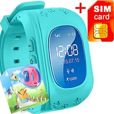 GBD GPS Tracker Smart Watch for Kids with Sim Card Smartwatch Phone Anti-lost Finder SOS Gprs Children Fitness Tracker Wrist Watch Bracelet with Pedometer Parents Control App for Smartphone(Blue) ** Click image for more details.