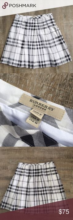 HOST PICK! Burberry London lightweight check skirt Perfect for spring! Gently used Burberry London cotton check skirt. Size 10. The only condition issue are two *very* small holes in the outer shell just below the hemline, likely from tagging (see photos, not visible when worn, Price reflects). Offers welcome! Price is flexible. 100% authenticity guaranteed! Burberry Skirts A-Line or Full