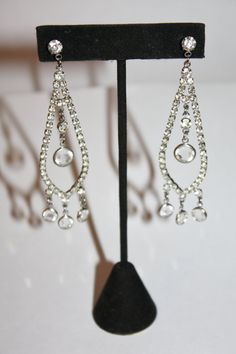 Vintage Crystal Bezel Earrings Rhinestone Drop Dangle by patwatty, $15.00