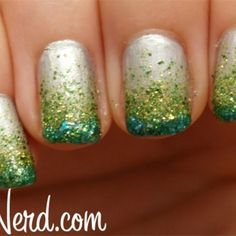New Nails Design Green Glitter Nailart Ideas Glitter Manicure, Glitter Nail Art, Manicure And Pedicure, Body Glitter, Glitter Makeup, Nail Spa, Nail Nail, Gradient Nails, French Nails