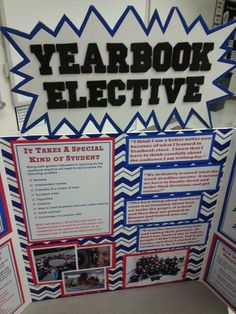 Here's a great idea if your school has an electives fair. Elementary Yearbook Ideas, Yearbook Mods, Middle School Yearbook, Teaching Yearbook, Yearbook Class, Yearbook Pages, Yearbook Spreads, Yearbook Layouts, Yearbook Design