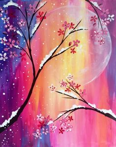Unique background moon painting with snow covered flowering trees. Beginner painting idea. Paint Nite in Bangor, ME