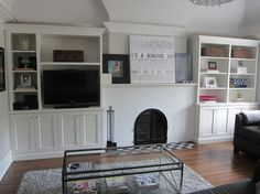 Fireplace Vaulted Ceiling & Shelves