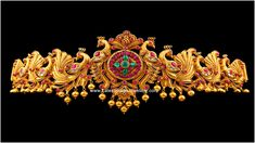 Beautifully carved peacock design gold South Indian vaddanam  or waist belt studded with pink pota rubies and emeralds. The intere...