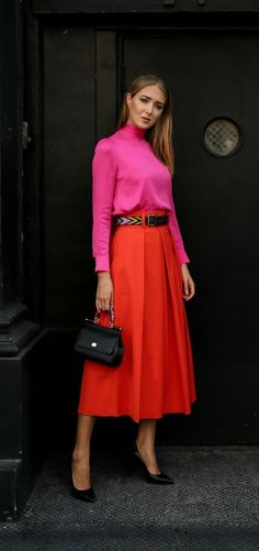 Bold Colors + Classic Style // Fuchsia pink bow-tie blouse, orange pleated midi skirt, small black sicily bag, classic black pumps + beaded leather belt {Dolce & Gabbana, Milly, Tibi, Saint Laurent, colorblocking, statement dressing, classy dressing, bold