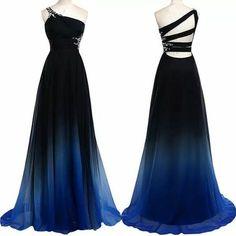 New Arrival Chiffon Prom Dress,Long Prom Dresses,One Shoulder Prom Dress,Sexy Prom Dress,Gradient Color Evening Dress,Floor Length Prom Dress