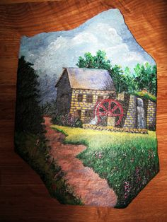 Landscape painted rock-find your own fav lanscape pattern or just make one up...neat!
