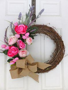Valentines Wreath For Front Door Spring Wreath by MaineMadeWreaths