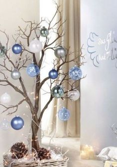 How to make Christmas Decorations using fallen branches and ornaments. Perfect Christmas tree alternative or winter wonderland decoration, craft, wedding centerpiece. Great Budget decor ideas for the home and small spaces. Christmas Branches, Small Christmas Trees, Christmas Decorations For The Home, Christmas Centerpieces, Modern Christmas, Rustic Christmas, Simple Christmas, Christmas Home, Christmas Tree Decorations