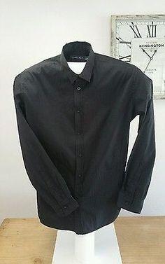 Tarocash Long Sleeve Black Dress Shirt Size Large Ribbed Vertical Pattern