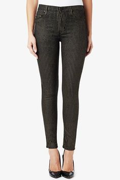 """The Barbara High Waist Super Skinny is a super slim fit with a  10"""" rise creating a refined, elevated waistline.  It has a modern five pocket style, 10"""" leg opening, and 30"""" inseam."""