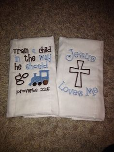 Bible Verse Burp Cloths on Etsy, $20.00