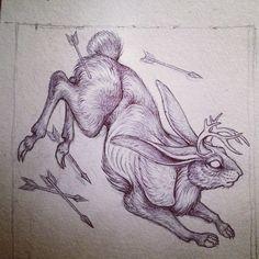 .@caitlin_hackett | A little jackalope critter wip
