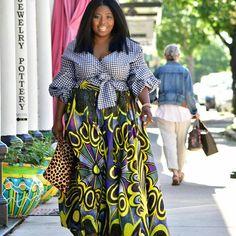 I don't get to sew often but when I do I make it count!  Blouse and skirt | @thatssewmonica  Photo Cred | @feesewcrafty . . . .  #thatssewmonica #projectsew #planoasgsews #ankara #africafashion #ankara #gingham #africangirlskillingit