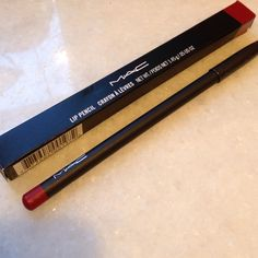 "MAC NIB ""Brick"" lip pencil liner ""intense golden red"" Gorgeous shade of red flattering to all complexions MAC Cosmetics Makeup Lip Liner"