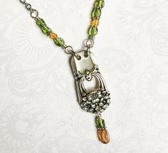 Spoon Necklace, Spoon Bracelet, Pendant Necklace, Fork Jewelry, Silverware Jewelry, Unusual Jewelry, Amber Beads, Steel Chain, Lampwork Beads