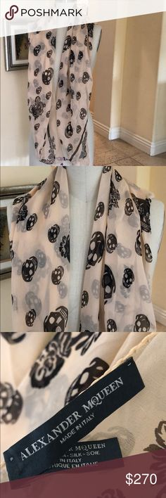 Alexander McQueen 100% Silk Scarf Black skull-print Silk Scarf in perfect condition- only wore it once. Alexander McQueen Accessories Scarves & Wraps