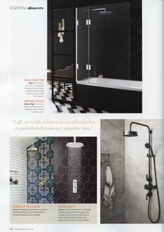 The elegant Dalby shower with curved pipe and classic 300mm rose in nickel finish from Drummonds. http://www.drummonds-uk.com/ Essential Kitchen Bathroom Bedroom May 2016