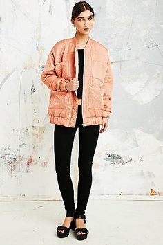Carin Wester Reva Bomber Jacket in Pink - Urban Outfitters