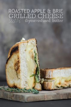 Grilled cheese slathered with thyme-infused butter and filled with cinnamon roasted apples, brie, arugula, and honey.
