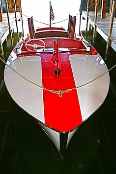 Red and White 1948 Chris Craft Racing Runabout