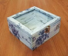 Handmade Decoupage Painted Wooden Box Rustic Blue Roses Flower Glass Lockable | eBay