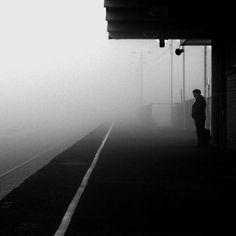 bw photograph, train platform, mist
