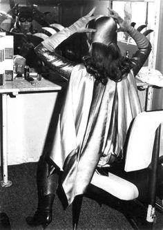 Yvonne Craig readies herself as Batgirl.