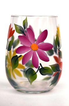 Summer Daisies Stemless Wine Glass
