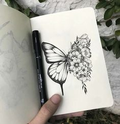 Our Website is the greatest collection of tattoos designs and artists. Find Inspirations for your next Tattoo . Search for more Butterfly Tattoo designs. Pencil Art Drawings, Art Drawings Sketches, Tattoo Drawings, Tattoos To Draw, Sketches Of Nature, Easy Nature Drawings, Drawing Designs, Cool Sketches, Tattoo Sketches