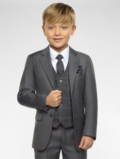 Boys Grey Suits, Boys Grey Check Waistcoat, Page Boy Suits, Boys Wedding Suits Kids Wedding Suits, Wedding Outfit For Boys, Baby Boy Fashion, Toddler Fashion, Kids Fashion, Fashion Dolls, Kids Suits, Page Boy, Kids Wear
