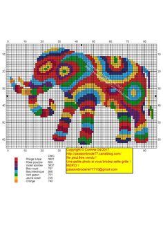 Eléphant coloré Cross Stich Patterns Free, Cross Stitch Kits, Cross Stitch Charts, Cross Stitch Designs, Elephant Cross Stitch, Cross Stitch Animals, Blackwork Embroidery, Cross Stitch Embroidery, Elephant Afrique