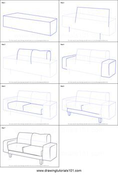 Couch Drawing Simple How To Draw A Printable Step By Sheet Drawingtutorials101com