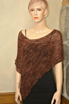 Knit Hand-Made Cover-up Poncho Wrap Sweater by CasadeAngelaCrochet  20% off coupon code CHACHA99