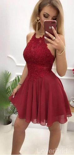 Pretty Halter Backless Lace Top Chiffon A Line Short Homecoming Dresse – sweetbridals Source by ellastreber Dresses short Burgundy Homecoming Dresses, Cheap Homecoming Dresses, Hoco Dresses, Cheap Dresses, Pretty Dresses, Sexy Dresses, Casual Dresses, Chiffon Dresses, Summer Dresses