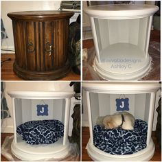 "I turned this $8 thrift store end table into a combination dog bed/end table. I removed the doors and filled in the screw holes with wood filler. I then lightly sanded the piece and primed with Zinsser 1-2-3 primer. The paint is Martha Stewart matte chalk finish paint in ""smoke"". I made the no-sew bed with fleece and cluster filling from the fabric store. The total project cost me $55! #diy #dogbed #thriftstore #dogcrate #dog #pet"