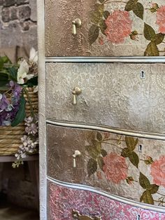 Your place to buy and sell all things handmade Gold Painted Furniture, Decoupage Furniture, Green Dresser, Wood Dresser, Diy Home Crafts, Diy Home Decor, Rustic Desk, Dixie Belle Paint, Country Furniture