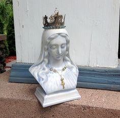 $78 Shabby Jeweled VINTAGE FRENCH BLUE Mother Mary Rhinestone Bust Statue Silver Gold Metal Crown Cross Rosary necklace Blessed Virgin Madonna