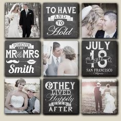Wedding canvas with date, name, and location. ( separate canvases, when hung are 34 x 34. Plus a cool chalkboard effect on the text. Customized Multiple Wedding Canvases with Date by DesignerCanvases, $279.00