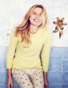 Love the sweater color and polka dots pants!