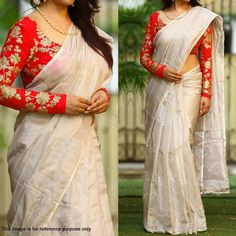 Buy Off White Chanderi Saree with Embroidered Blouse at Rs.1099- Get latest Party Wear Saree for womens at Ethnic Factory. ✓Genuine Products ✓ Easy Returns ✓ Best Pricing #Ethnicfactory #fairprice #Saree #ClassySarees