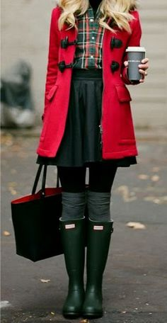 Coat + plaid + tights + boots + latte