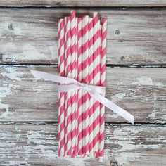 Fuchsia Pink Striped Straws with Free Printable Straw Flags - Paper Party Straws - The TomKat Studio
