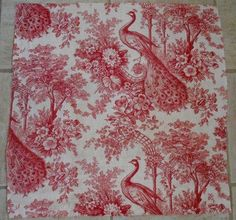 Antique French Fabric Linen Toile de Jouy Peacock par MadameSoussou, $38,90