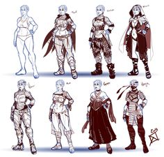 Costume design concepts for a half-orc character.